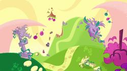 Size: 1920x1080 | Tagged: safe, screencap, applejack, discord, fluttershy, pinkie pie, rainbow dash, rarity, twilight sparkle, pony, back to the present, my little pony: pony life, pony life, spoiler:pony life s02e12, mane six, tree