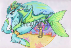 Size: 1280x872 | Tagged: safe, artist:neoncito, oc, oc only, fish, seahorse, seapony (g4), blue eyes, coral, crown, dorsal fin, female, fin wings, fins, fish tail, flowing mane, flowing tail, jewelry, logo, necklace, ocean, pearl, regalia, seashell, seaweed, smiling, solo, swimming, tail, underwater, water, watermark, wings