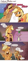 Size: 1300x2788 | Tagged: safe, artist:saturdaymorningproj, applejack, spike, dragon, earth pony, comic:indecent blushes, comic, dialogue