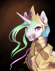 Size: 1275x1650 | Tagged: safe, artist:silfoe, princess celestia, alicorn, pony, armor, badass, burn marks, grin, looking at you, scorch marks, scorched, signature, smiling, solo, warrior, warrior celestia