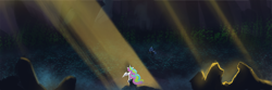 Size: 9000x3000 | Tagged: safe, artist:hierozaki, princess celestia, queen chrysalis, alicorn, changeling, changeling queen, pony, crepuscular rays, female, high res