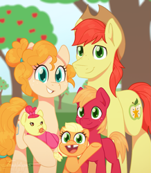 Size: 965x1109 | Tagged: safe, artist:imaplatypus, apple bloom, applejack, big macintosh, bright mac, pear butter, earth pony, pony, apple, apple family, apple tree, baby, baby apple bloom, colt, colt big macintosh, cute, family, female, filly, filly applejack, foal, freckles, gap teeth, jackabetes, male, pacifier, smiling, tree, young, younger