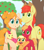 Size: 965x1109   Tagged: safe, artist:imaplatypus, apple bloom, applejack, big macintosh, bright mac, pear butter, earth pony, pony, apple, apple family, apple tree, baby, baby apple bloom, colt, colt big macintosh, cute, family, female, filly, filly applejack, foal, freckles, gap teeth, jackabetes, male, pacifier, smiling, tree, young, younger