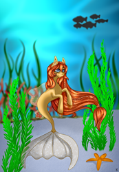 Size: 1000x1446 | Tagged: safe, artist:ashestoashkar, oc, oc only, fish, seapony (g4), blue eyes, clothes, commission, coral, crepuscular rays, dorsal fin, ear fluff, female, fins, fish tail, flowing mane, ocean, seaweed, see-through, smiling, solo, swimming, tail, underwater, water, ych result