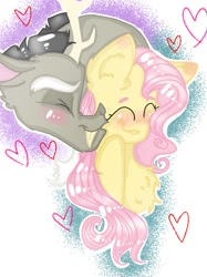 Size: 899x1200 | Tagged: safe, artist:cocolove2176, discord, fluttershy, draconequus, pegasus, pony, abstract background, blushing, bust, cheek kiss, chest fluff, discoshy, ear fluff, eyes closed, female, heart, kissing, male, mare, shipping, smiling, straight