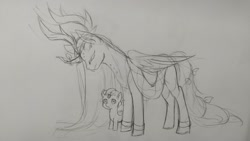 Size: 2048x1152 | Tagged: safe, artist:nekoleelee, alicorn, pegasus, pony, colt, cookie run, crossover, eyes closed, male, millennial tree cookie, monochrome, open mouth, ponified, simple background, sketch, traditional art, white background, wind archer cookie