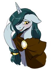 Size: 812x1138 | Tagged: safe, artist:its-gloomy, oc, oc only, oc:bright eyes, pony, unicorn, bashful, blushing, braid, brooch, cape, cloak, clothes, female, jewelry, lidded eyes, mare, simple background, white background