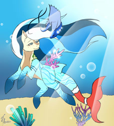 Size: 2575x2833 | Tagged: safe, artist:secretmoonlight, oc, oc only, fish, merpony, blue eyes, bubble, commission, coral, crepuscular rays, fish tail, flowing mane, ocean, seaweed, solo, sunlight, swimming, tail, underwater, water