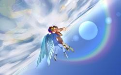 Size: 2048x1282 | Tagged: safe, artist:卯卯七, applejack, rainbow dash, human, appledash, earth, female, flying, humanized, lesbian, shipping, winged humanization, wings
