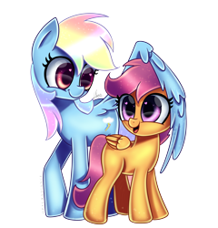 Size: 5000x5200 | Tagged: safe, artist:opal_radiance, rainbow dash, scootaloo, pegasus, pony, absurd resolution, cute, cutealoo, dashabetes, duo, female, filly, heart eyes, mare, open mouth, png, scootalove, signature, simple background, timelapse, transparent background, wingding eyes