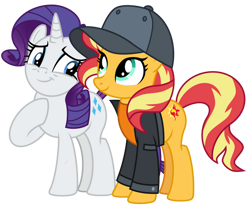 Size: 1024x848 | Tagged: safe, artist:emeraldblast63, rarity, sunset shimmer, display of affection, equestria girls, equestria girls series, blue eyes, cap, cute, duo, duo female, female, flanksy, friends, girly girl, happy, hat, multicolored mane, multicolored tail, purple mane, purple tail, shimmerbetes, simple background, smiling, tomboy, transparent background, turquoise eyes, visor cap, white fur, yellow fur