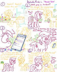 Size: 4779x6013 | Tagged: safe, artist:adorkabletwilightandfriends, roseluck, starlight glimmer, sunburst, earth pony, pony, unicorn, comic:adorkable twilight and friends, adorkable, adorkable friends, advice, cellphone, comic, confused, cute, dating, dork, flower, friendship, garden, glowing horn, help, horn, hug, kindness, life, love, magic, nervous, phone, plants, relationship, running, slice of life, smartphone, store, telekinesis