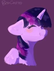 Size: 768x1024   Tagged: safe, artist:notboxcasted, twilight sparkle, alicorn, pony, blushing, bust, cute, eyes closed, floppy ears, happy, portrait, purple background, simple background, smiling, solo, twiabetes, twilight sparkle (alicorn)