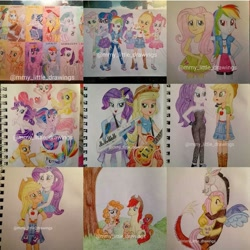 Size: 1080x1080 | Tagged: safe, artist:mmy_little_drawings, apple bloom, applejack, big macintosh, bright mac, discord, fluttershy, pear butter, pinkie pie, rainbow dash, rarity, sci-twi, twilight sparkle, draconequus, earth pony, pegasus, pony, seapony (g4), equestria girls, equestria girls series, rollercoaster of friendship, shadow play, the other side, :d, baby, baby pony, bare shoulders, bedroom eyes, blushing, boots, brightbutter, clothes, colt, colt big macintosh, cutie mark, cutie mark on clothes, cutie mark on human, dress, eyelashes, female, filly, filly applejack, freckles, gloves, grin, guitar, hand on hip, hat, high heel boots, high heels, holding a pony, hug, humane five, humane six, lesbian, long gloves, looking back, male, mane six, mare, musical instrument, obtrusive watermark, open mouth, outdoors, piggyback ride, ponied up, rarijack, seaponified, seapony applejack, seapony fluttershy, seapony pinkie pie, seapony rainbow dash, seapony rarity, seapony twilight, shipping, shoes, side hug, skirt, sleeveless, smiling, species swap, stallion, straight, strapless, traditional art, tree, underhoof, watermark, wings, younger