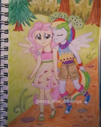 Size: 1017x1271 | Tagged: safe, artist:mmy_little_drawings, fluttershy, rainbow dash, equestria girls, legend of everfree, bush, clothes, converse, dress, eyelashes, eyes closed, female, flutterdash, flying, grin, lesbian, outdoors, ponied up, shipping, shoes, shorts, side hug, sleeveless, smiling, traditional art, tree, watermark, wings