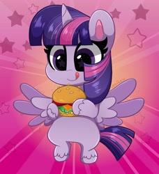 Size: 3733x4096 | Tagged: safe, artist:kittyrosie, twilight sparkle, alicorn, pony, my little pony: pony life, pony life, burger, cute, digital art, female, food, herbivore, mare, smiling, solo, starry eyes, that pony sure does love burgers, twiabetes, twilight burgkle, twilight sparkle (alicorn), wingding eyes