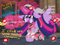 Size: 1280x966 | Tagged: safe, artist:ladylullabystar, twilight sparkle, alicorn, crossover, crying, floppy ears, glowing horn, horn, implied applejack, implied fluttershy, implied pinkie pie, implied rainbow dash, implied rarity, mercy, offscreen character, overwatch, solo, twilight sparkle (alicorn)