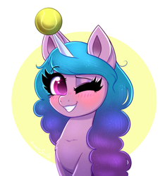 Size: 1871x2000 | Tagged: safe, artist:confetticakez, izzy moonbow, pony, unicorn, g5, ball, bracelet, bust, chest fluff, cute, female, horn, horn guard, horn impalement, hornball, izzy's tennis ball, jewelry, mare, one eye closed, portrait, smiling, solo, tennis ball, wink