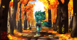Size: 4096x2160   Tagged: safe, artist:theprince, oc, oc only, pony, unicorn, autumn, clothes, hoodie, leaves, looking up, not lyra, scenery, solo, tree