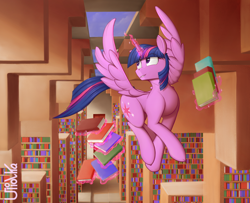 Size: 2000x1625 | Tagged: safe, artist:uliovka, twilight sparkle, alicorn, pony, book, bookshelf, bookworm, flying, library, remake, scenery, smiling, solo, twilight sparkle (alicorn)