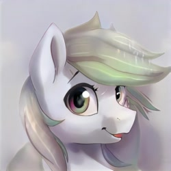 Size: 1024x1024 | Tagged: safe, artist:thisponydoesnotexist, pony, gray background, looking at you, neural network, open mouth, simple background