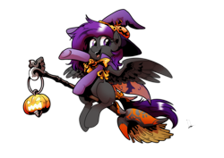 Size: 3507x2480 | Tagged: safe, artist:dormin-kanna, oc, oc only, oc:fritzy, hybrid, pegasus, pony, broom, clothes, cloths, commission, costume, flying, flying broomstick, halloween, halloween costume, hat, holiday, simple background, solo, transparent background, witch, witch costume, witch hat, witchcraft, ych result