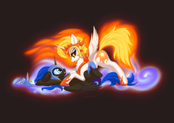 Size: 2093x1484 | Tagged: safe, artist:lunebat, daybreaker, nightmare moon, alicorn, pony, chest fluff, cutie mark, dark background, evil princest, female, horn, incest, jewelry, lesbian, looking at each other, regalia, shipping, smiling, spread wings, straddling, wings