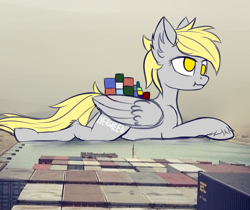 Size: 2909x2439   Tagged: safe, artist:colourwave, derpy hooves, pegasus, pony, container ship, current events, derpy being derpy, ever given, ever given (container ship), evergreen marine corporation, female, giant pony, i just don't know what went wrong, irl, lying down, macro, mare, parody, photo, ponies in real life, ponified, prone, scrunchy face, ship, stuck, suez canal