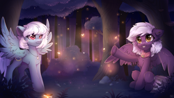 Size: 1920x1080 | Tagged: safe, artist:reterica, fleetfoot, oc, oc:nighty cloud, firefly (insect), insect, pegasus, pony, bush, canon x oc, chest fluff, clothes, commission, cutie mark accessory, cutie mark necklace, duo, ear piercing, earring, evening, female, fleetnight, forest, grass, jewelry, lesbian, mare, necklace, night, piercing, pointing, scarf, scenery, scenery porn, shipping, signature, sitting, smiling, spread wings, standing, starry eyes, teeth, tree, wingboner, wingding eyes, wings