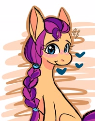 Size: 1605x2048 | Tagged: safe, artist:elcy_bellcup, sunny starscout, earth pony, g5, braid, heart, smiling, solo
