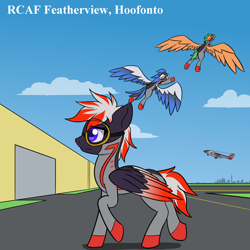 Size: 1280x1280 | Tagged: safe, artist:askavrobishop, oc, oc:bishop, pegasus, comic:askavrobishop, airfield, clothes, flight suit, goggles, plane
