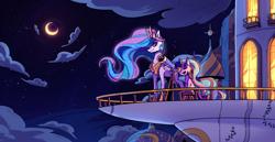 Size: 4191x2156   Tagged: safe, artist:kaleido-art, princess celestia, twilight sparkle, alicorn, pony, unicorn, adorkable, balcony, canterlot, canterlot castle, castle, cloud, cute, dork, ethereal mane, female, filly, filly twilight sparkle, flowing mane, high res, moon, night, starry mane, telescope, unicorn twilight, younger