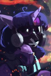 Size: 1500x2200 | Tagged: safe, artist:hierozaki, twilight sparkle, pony, gas mask, mask, solo