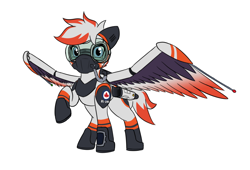 Size: 3420x2322   Tagged: safe, artist:askavrobishop, oc, oc:bishop, pegasus, arrow wing gear, clothes, engines, female, flight suit, mare, mask, uniform, wing gear, wings