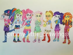 Size: 1080x819 | Tagged: safe, artist:mmy_little_drawings, applejack, fluttershy, pinkie pie, rainbow dash, rarity, sci-twi, sunset shimmer, twilight sparkle, equestria girls, equestria girls series, sunset's backstage pass!, spoiler:eqg series (season 2), boots, clothes, dress, eyelashes, female, flower, flower in hair, freckles, glasses, hat, humane five, humane seven, humane six, lidded eyes, music festival outfit, obtrusive watermark, open mouth, peace sign, shoes, smiling, traditional art, visor, watermark, waving
