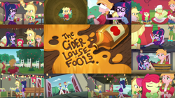 Size: 1280x720   Tagged: safe, edit, edited screencap, editor:quoterific, screencap, apple bloom, applejack, big macintosh, cheerilee, flam, flim, granny smith, sci-twi, scootaloo, twilight sparkle, equestria girls, equestria girls series, holidays unwrapped, the cider louse fools, spoiler:eqg series (season 2), apple, apple bloom's bow, applejack's hat, belt, boots, bow, bowtie, cider, clothes, cowboy boots, cowboy hat, cutie mark, cutie mark on clothes, denim skirt, eyes closed, female, flim flam brothers, food, geode of super strength, geode of telekinesis, glasses, hair bow, hat, jewelry, magical geodes, male, necklace, ponytail, shoes, skirt, smiling, sweet apple acres barn, tree