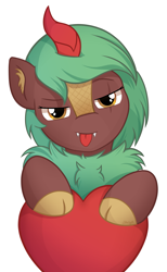 Size: 1607x2605 | Tagged: safe, artist:starlight, oc, oc only, oc:selketo, kirin, pony, bust, chest fluff, commission, portrait, seductive, shading, simple background, solo, tongue out, transparent background