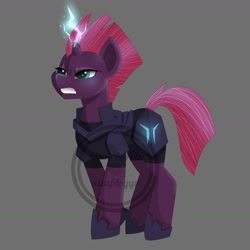 Size: 1608x1608 | Tagged: safe, artist:ittybittybiters, tempest shadow, pony, unicorn, my little pony: the movie, angry, broken horn, female, glowing horn, gray background, horn, mare, simple background, solo, teeth, watermark