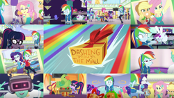 Size: 1280x721 | Tagged: safe, edit, edited screencap, editor:quoterific, screencap, applejack, fluttershy, pinkie pie, rainbow dash, rarity, sci-twi, sunset shimmer, twilight sparkle, zephyr breeze, dashing through the mall, equestria girls, equestria girls series, holidays unwrapped, spoiler:eqg series (season 2), applejack is not amused, applejack's hat, boots, bowtie, bracelet, canterlot mall, clothes, converse, cowboy boots, cowboy hat, cutie mark, cutie mark on clothes, denim skirt, eyes closed, geode of empathy, geode of fauna, geode of shielding, geode of sugar bombs, geode of super speed, geode of super strength, geode of telekinesis, glasses, hairpin, hammer, hat, high heels, hoodie, jacket, jewelry, leather, leather jacket, magical geodes, peace sign, pink camera, ponytail, present, rainbow dash is best facemaker, rainbow dash is not amused, rarity is not amused, rarity peplum dress, sandals, shoes, skirt, smiling, unamused
