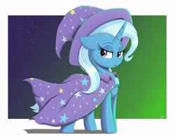 Size: 3816x2994 | Tagged: safe, artist:arcane-thunder, trixie, pony, unicorn, cape, clothes, female, hat, high res, lidded eyes, mare, solo, trixie's cape, trixie's hat, white border, wizard hat