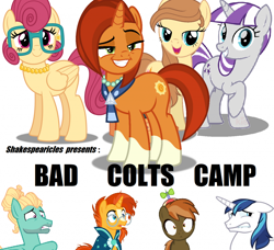 Size: 1024x934   Tagged: safe, artist:dashiesparkle edit, edit, button mash, posey shy, shining armor, stellar flare, sunburst, twilight velvet, zephyr breeze, oc, oc:cream heart, earth pony, pegasus, pony, unicorn, fanfic:bad colts camp, accessories, author:shakespearicles, beard, cap, clothes, colt, cover art, cutie mark, eyebrows, eyelashes, eyeshadow, facial hair, family, fanfic, fanfic art, fanfic cover, female, fimfiction, glasses, goatee, hat, incest, jewelry, makeup, male, mare, milf, mother, mother and child, mother and son, necklace, one hoof raised, propeller hat, robe, scarf, shadow, shakespearicles, simple background, son, stallion, standing, stars, text, wall of tags, wizard robe