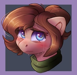 Size: 680x664 | Tagged: safe, artist:ardail, artist:lrusu, oc, oc only, oc:mocha latte, earth pony, pony, clothes, collaboration, crying, scarf, solo, tears of pain