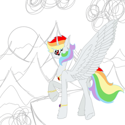 Size: 1000x1000   Tagged: safe, artist:rainbow dash is best pony, oc, oc only, oc:rainbowrio, alicorn, pony, alicorn oc, bracelet, chest fluff, cliff, cloud, colored, ear fluff, hoof fluff, horn, jewelry, mountain, necklace, not rainbow dash, simple background, sketch, solo, spread wings, sun, sunset, white background, wings