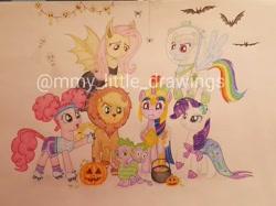 Size: 1078x808   Tagged: safe, artist:mmy_little_drawings, applejack, fluttershy, pinkie pie, rainbow dash, rarity, spike, twilight sparkle, alicorn, bat, big cat, dragon, earth pony, lion, mermaid, pegasus, pony, unicorn, animal costume, applelion, armor, astrodash, athena sparkle, clothes, costume, eyelashes, female, flutterbat costume, flying, freckles, grin, halloween, helmet, holiday, jack-o-lantern, male, mane seven, mane six, mare, mermaid tail, mermarity, multiple heads, obtrusive watermark, pigtails, pinkie puffs, pumpkin, smiling, traditional art, twilight sparkle (alicorn), two heads, two-headed dragon, watermark