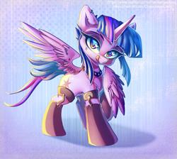 Size: 1114x1000 | Tagged: safe, artist:chaosangeldesu, twilight sparkle, alicorn, pony, clothes, punk, solo, stockings, thigh highs, twilight sparkle (alicorn)