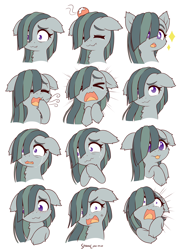 Size: 2800x3800 | Tagged: safe, artist:symbianl, marble pie, earth pony, pony, crying, cute, cute little fangs, expressions, eyes closed, fangs, female, floppy ears, lump, marblebetes, mare, simple background, solo, symbianl is trying to murder us, telegram sticker, weapons-grade cute, white background
