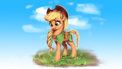 Size: 1920x1080   Tagged: safe, artist:xyq, derpibooru exclusive, applejack, earth pony, pony, clothes, cute, female, grass, jackabetes, mare, smiling, solo