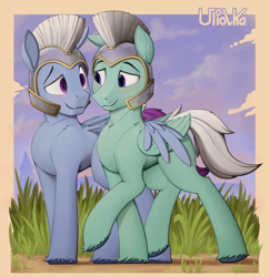 Size: 1944x2000 | Tagged: safe, artist:uliovka, zoom zephyrwing, pegasus, pony, g5, armor, cute, gay, guard, looking at each other, male, royal guard, shipping, wings