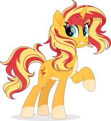 Size: 5443x5947   Tagged: safe, artist:pumpkinpieforlife, sunset shimmer, pony, unicorn, absurd resolution, alternate design, coat markings, cute, female, freckles, looking at you, mare, pale belly, peppered bacon, raised hoof, shimmerbetes, simple background, smiling, socks (coat markings), solo, transparent background, vector