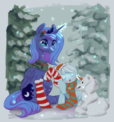 Size: 3000x3220   Tagged: safe, artist:ariamidnighters, princess luna, oc, oc:snowdrop, alicorn, pegasus, pony, christmas, christmas stocking, clothes, cute, duo, eyes closed, female, filly, hat, high res, holiday, holly, mare, open mouth, s1 luna, scarf, snow, snowfall, snowflake, snowpony, socks, striped socks, winter, wreath